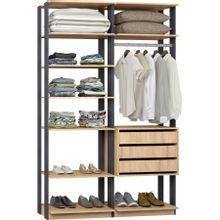 guarda-roupa-closet-com-3-gavetas-clothes-9008-em-mdp-bege-claro-e-grafite-c-EC000024979
